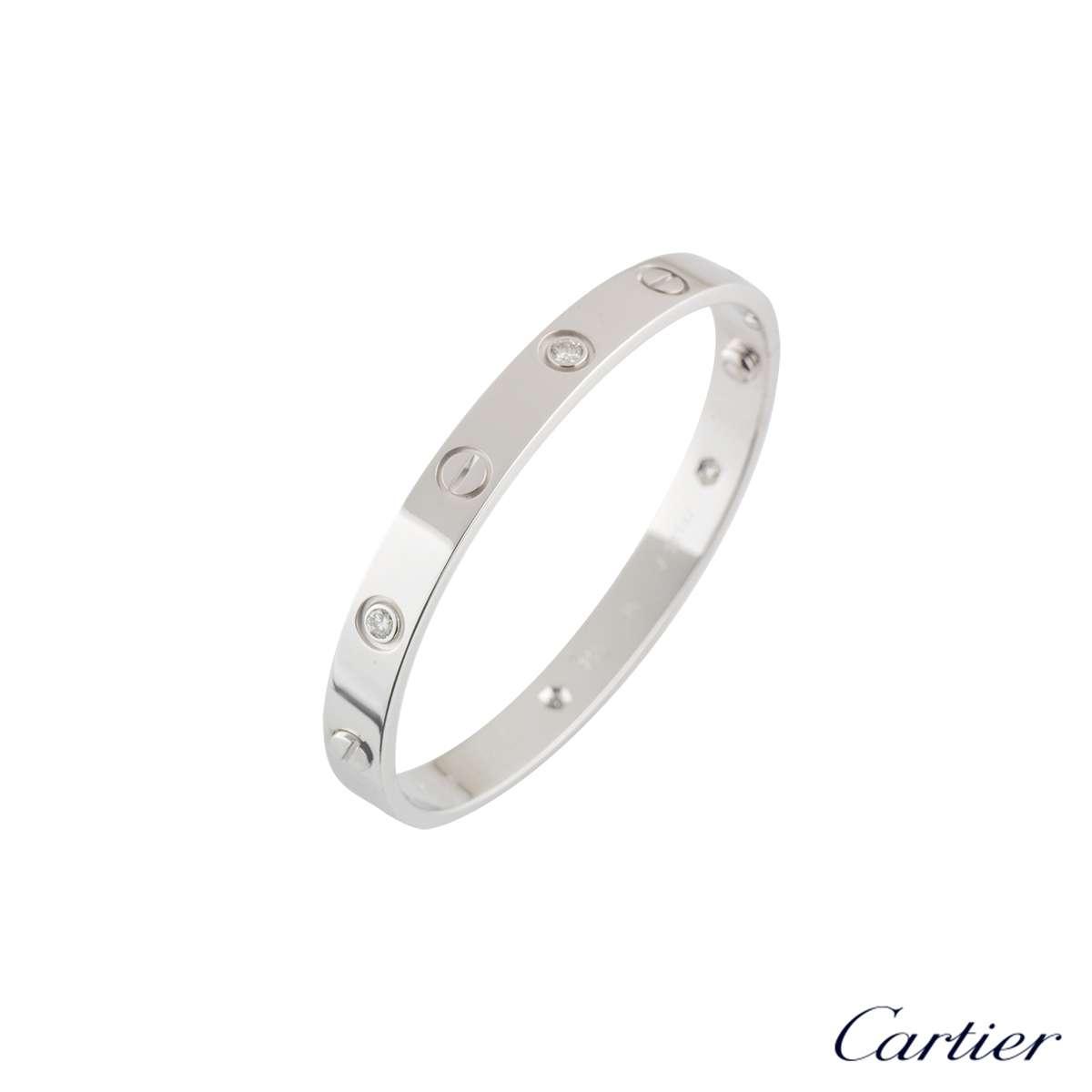 CartierWhite Gold Half Diamond Love Bracelet Size 17B6014017